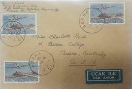 L) 1949 TURKEY, ANKARA, THE MAIL, AIRPLANE, 20 KURUS, LAKE, AIR MAIL, CIRCULATED COVER FROM TURKEY TO USA - 1921-... Republic