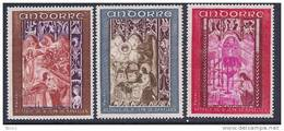 Andorra, Fr., Scott # 192-4 Mint Hinged Set Frescos, 1969, #192 Has Tiny Hinge Thin - Nuovi