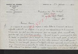 LETTRE COMMERCIALE  DE 1934 SOCIETE DES COURSES DE SAINT LO : - Equitation