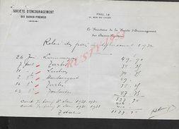 FACTURE DE 1932 SOCIETE D ENCOURAGEMENT DES BASSE PEYRENEES CHEVAUX  PAU : - Equitation