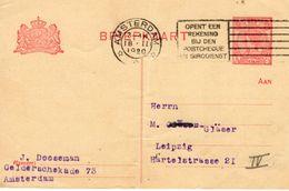 1920 Bk G103 Van Amsterdam Naar Leipzig - Postal Stationery