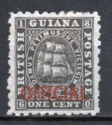 British Guiana Official Stamp From 1875 Black With Red Writing - British Guiana (...-1966)