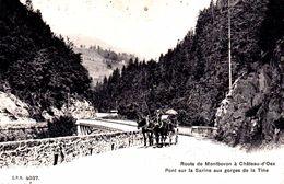 Route De Montbovon à Château-d'Oex - Pont Sur La Sarine Aux Gorges De La Tine -1913 - Calèche - FR Fribourg