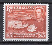 British Guiana George VI $3 Bright Red Brown Definitive Stamp From 1938. - British Guiana (...-1966)