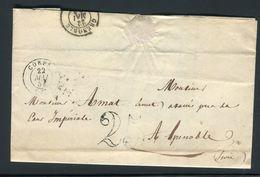 France - Lettre Avec Texte De Corps Pour Grenoble En 1854 , Taxe 25 Double Trait - Ref N 3 - Marcophilie (Lettres)