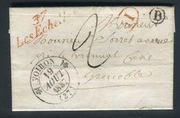 """France - Lettre Avec Texte De Miribel Pour Grenoble En 1837 , Cursive Rouge  """" 37 Les Echelles """" - Ref N 7 - 1801-1848: Precursors XIX"""
