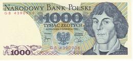 BILLETE DE POLONIA DE 1000 ZLOTYCH DEL AÑO 1982 SIN CIRCULAR-UNCIRCULATED (BANKNOTE) - Polonia