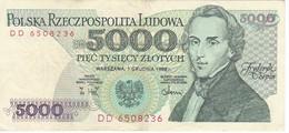 BILLETE DE POLONIA DE 5000 ZLOTYCH DEL AÑO 1988 EN CALIDAD EBC (XF) (BANKNOTE) - Poland