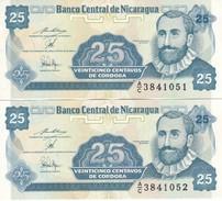 PAREJA CORRELATIVA DE NICARAGUA DE 25 CENTAVOS DEL AÑO 1991    (BANKNOTE) - Nicaragua