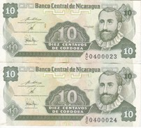 PAREJA CORRELATIVA DE NICARAGUA DE 10 CENTAVOS DEL AÑO 1991    (BANKNOTE) - Nicaragua