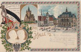 Prägekarte Zur Erinnerung An Den Kaiserbesuch 6.9.03 Flaggenstempel - Halle (Saale)