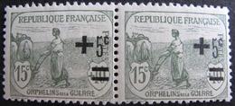 LOT 1127 - 1922 - AU PROFIT DES ORPHELINS DE LA GUERRE - PAIRE N°164 TIMBRES NEUFS** - France