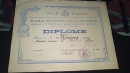 Diplôme -  VILLE D'AUCH - DIPLOME école Municipale De Musique De M. MASSOCQ Serge à AUCH - Diplomas Y Calificaciones Escolares
