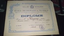 Diplôme -  VILLE D'AUCH - DIPLOME école Municipale De Musique De M. MASSOCQ Serge à AUCH 3e Prix - Diplomi E Pagelle
