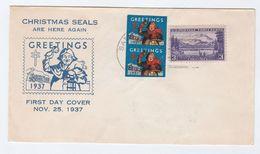 1937 USA FDC TB Tuberculosis CHRISTMAS GREETINGS SEALS Franked 2x TB LABEL 1x 3c Alaska Stamp, Cover Health - Disease