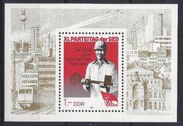 Germany (DDR) 1986  Parteitag Der SED (**) MNH  Mi.3013 (block 83) - DDR