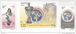 Stamps EGYPT 2001 SC-1794 1795 1797 WORLD MILITARY SOCCER CHAMPIONE  MNH  */* - Egypt