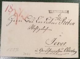 ELBINGERODE L1 (Hannover, Hildesheim) Auf Brief Aus Rothehütte Harz 1837 > Jever Oldenburg  (Vorphilatelie Cover Lettre - Hanover