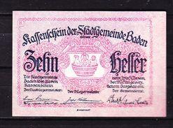 Notgeld, Stadtgemeinde Baden, 10 Heller, 1920 (42914) - Oesterreich