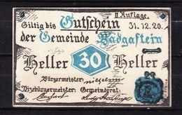Notgeld, Gemeinde Badgastein, 30 Heller, 1920 (42919) - Oesterreich