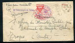 France - Utilisation D 'une Enveloppe Militaire Américaine Par La Préfecture Des Alpes Maritimes En 1934 - Ref N 39 - Postmark Collection (Covers)