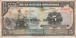 Bolivia - Pick 113 - 5 Bolivianos 1929 - VG+ - Bolivia