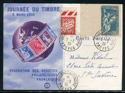 France - Carte Et Oblitération De La Journée Du Timbre En 1939 De Troyes - Ref N 41 - Marcophilie (Lettres)