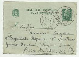 BIGLIETTO POSTALE DA 25 CENTESIMI 16/01/1941 - Marcophilia