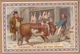 Victorian Greeting Card He Takes The Bull By The Horns  Egc87 - Old Paper
