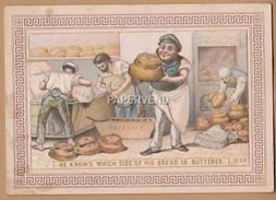 Victorian Greeting Card He Knows Which Side Of  His Bread Is Buttered  Egc88 - Old Paper