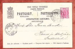 P 23 II Staatswappen, Per Bahnpost?, Orivesi Nach Hemer 1894 (42928) - Finlandia