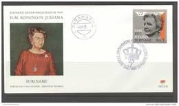 SURINAME 1973 FDC E98 JULIANA BLANCO VERY FINE - Surinam ... - 1975