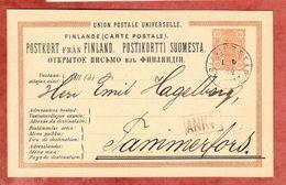 P 16 Staatswappen, Kristinestad Nach Taminerfors 1884 (42929) - Entiers Postaux