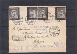 Pologne - Lettre Recom De 1936 ° - Oblit Torun - Exp Vers Montignies Sur Sambre - Timbres Interpanneaux -cachet Controle - Briefe U. Dokumente