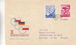 Pologne - Lettre De 1957 - Oblit Warszawa - Exp Vers Houtainle Val - Cyclisme - Cachet De Bruxelles - 1944-.... République