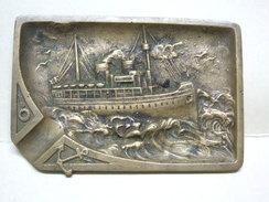 CENDRIER En Bronze : Bateau Vapeur, Voilier, Ancre Marine - Metall