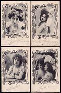 SUPERBE LOT DE 4 CPA PHOTO FANTAISIE * JEUNE FEMME - MODE - CHEVEUX - JUGENDSTILL - ART NOUVEAU * - Women