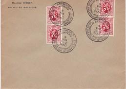 Afstempeling Op Brief Van Postzegel 282 ( 4 X) . Met Speciale Poststempel Antwerpen Philatelique 9 - VIII -1930 - Poststempels/ Marcofilie