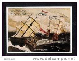 ANGOLA   965  MINT NEVER HINGED SOUVENIR SHEET OF SHIPS     ( - Schiffe
