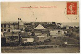 RAVENOVILLE PLAGE MANCHE Peu Courant Fête Foraine Dans Les Dunes Romanichelle Roulotte Tsigane Tzigane Chapiteau Cirque - Otros Municipios