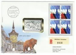 Suisse // Schweiz // Switzerland //  1990-1999  // Lettre  800 Ans De Bern + Pièce Numismatique 750 Ans Bern 1er Jour - Switzerland