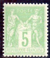 N° 106 : 5 Centimes Type III Vert-jaune Neuf Trace Charnière. (42728) - 1898-1900 Sage (Type III)