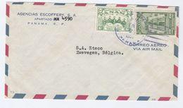 1951? Air Mail PANAMA  Agencias Escoffery COVER  To BELGIUM Franked Tomas Herrera, School Stamps - Panama