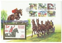 """Suède // Sverige // Lettre  Avec Timbres De Carnet """"Ryttar """""""" VM 1990 - Suède"""