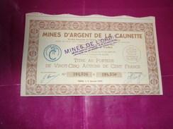 MINES D'ARGENT DE LA CAUNETTE (mines De L'orbiel) Titre De 25 Actions - Zonder Classificatie