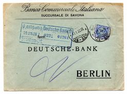 EDB8 - REGNO  1,25 Per La Germania. PERFIN BCI Banca Commerciale Italiana Del 1928 Suc Savona - 1900-44 Victor Emmanuel III