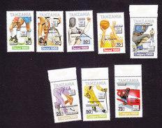 Tanzania, Scott #534A-H, Mint Hinged, Olympics Overprinted, Issued 1989 - Tanzania (1964-...)