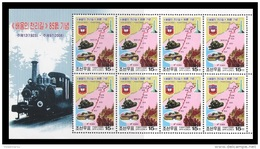 North Korea 2008 Mih. 5310 1000-ri Journey For National Liberation Made By Kim Il Sung. Locomotive. Train (M/S) MNH ** - Korea, North