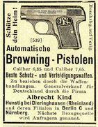 Original-Werbung/ Anzeige 1907 - BROWNING PISTOLEN / ALBRECHT KIND - HUNSTIG BEI DIERINGHAUSEN - Ca. 45 X 55 Mm - Werbung