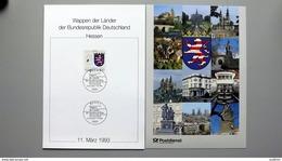 """Deutschland Erinnerungsblatt """"Wappen Der Länder - Hessen"""" Mit Bund 1660 ESST Bonn - Storia Postale"""